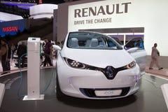 Vorbetrachtung Renault-Zoe - Genf-Autoausstellung 2011 Stockfotos