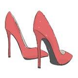 Vorbildliche Schuhe Illustration des Handabgehobenen betrages Stockbild