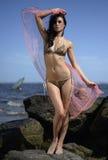 Vorbildliche Stellung des schönen Brunette auf den Felsen mit Ozean auf dem Hintergrund Lizenzfreie Stockfotografie