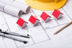 Vorbildlicher Houses On Blue-Druck Lizenzfreie Stockbilder