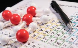 Vorbildliches Atom der Chemie von wissenschaftlichen Elementen des Molekülwassers auf PET stockbild