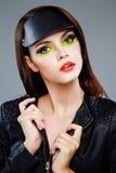Vorbildliches Gesicht mit hellem bilden Stockfoto