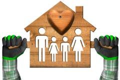 Vorbildliches House mit Familie und Herzen Stockfotos