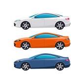 Vorbildliches rwhite, Orange und Blau von Profilautos Super moderner Autosport stockfoto