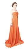 Vorbildliches tragendes silk Kleid der Frau Stockbild