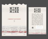 Vorder- und Rückseite von der modernen Wein-Aufkleber-Schablone lizenzfreies stockbild