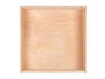 Vorderansicht über einen Kasten Sperrholz Stockbild