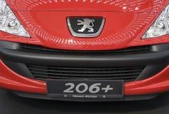 Vorderansicht über Peugeot-Auto 206+ Lizenzfreie Stockfotos