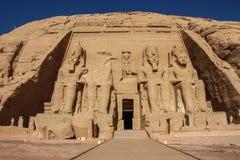 Vorderansicht Abu Simbels stockbild