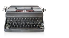 Vorderansicht antike graue Schreibmaschine auf weißem Hintergrund, Gegenstand, Co lizenzfreie stockfotografie