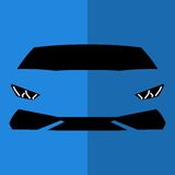 Vorderansicht-Blauauto des Vektors stockfotografie