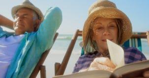 Vorderansicht der aktiven älteren kaukasischen Frau, die ein Buch auf dem Strand 4k liest stock footage
