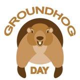 Vorderansicht der flachen Art der Groundhog-Tagesvektorillustration Stockfotos