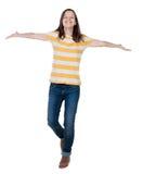 Vorderansicht der frohen Frau Sieghände oben feiernd Lizenzfreie Stockfotos