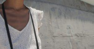 Vorderansicht der jungen Afroamerikanerfrauenstellung mit Digitalkamera auf Strand im Sonnenschein 4k stock footage