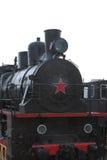 Vorderansicht der schwarzen Dampflokomotive mit einem roten Stern Nahaufnahme Lizenzfreies Stockfoto