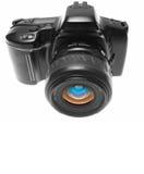 Vorderansicht der SLR Kamera Lizenzfreie Stockbilder