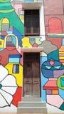 Vorderansicht der Straßen-Kunst in Melaka mit Türen Stockbild