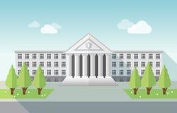 Vorderansicht der Universität oder des Regierungsgebäudes in der flachen Art Stockfotografie