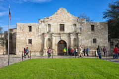 Vorderansicht des Alamos in San Antonio Texas Stockfotos