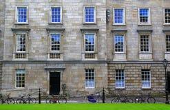Vorderansicht des alten irischen Palastes Stockbild