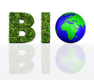 Vorderansicht des Biowortes mit der Welt vektor abbildung