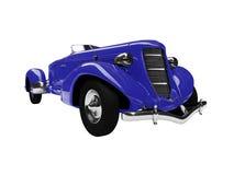 Vorderansicht des blauen Autos der Weinlese Stockbild