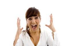 Vorderansicht des frustrierten weiblichen Rechtsanwalts Stockfoto