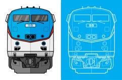 Vorderansicht des Güterzugs Stockfotografie