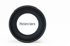 Vorderansicht des Kameraobjektivs mit Leerraum auf Glaslinse Stockfotografie