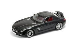Vorderansicht des luxuriösen schwarzen Autos Stockfoto