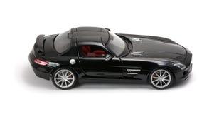 Vorderansicht des luxuriösen schwarzen Autos Stockfotos