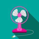 Vorderansicht des mini elektrischen Ventilators für Haus mit Knopf vektor abbildung