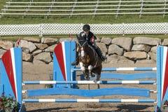 Vorderansicht des Pferds mit dem Reiter, der einen Sprung macht Stockfotografie