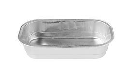Vorderansicht des rechteckigen Aluminiumfolie-Behälters lokalisiert auf Weißrückseite Lizenzfreies Stockbild
