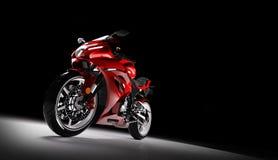 Vorderansicht des Rotes trägt Motorrad in einem Scheinwerfer zur Schau Lizenzfreies Stockfoto