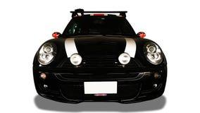Vorderansicht des schwarzen Autos auf weißem Hintergrund stockfoto