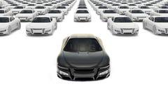 Vorderansicht des schwarzen Sportautos, das den Satz verlässt Lizenzfreie Stockbilder