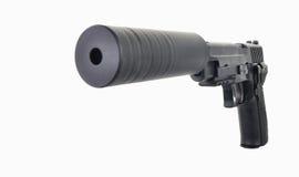 Vorderansicht einer unterdrückten Pistole mit einem großen Loch in der Front Lizenzfreies Stockbild