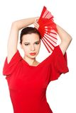 Vorderansicht eines Latinotänzers, der rotes Kleid trägt Lizenzfreie Stockbilder