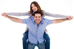 Vorderansicht eines Paares im Doppelpol reiten Stockfotografie