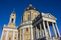 Vorderansicht Kathedrale Superga Turin Lizenzfreie Stockfotos