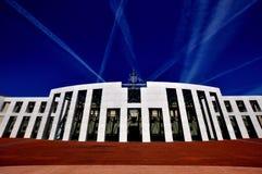 Vorderansicht Parlamentsgebäude-Canberras Australien Stockfotos