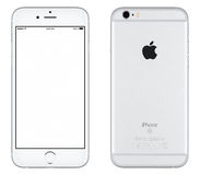 Vorderansicht silbernen Apple-iPhone 6s Modells und Rückseite Stockfotos