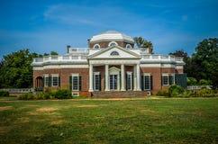 Vorderansicht Thomas Jefferson Monticello des Hauses Lizenzfreie Stockfotos