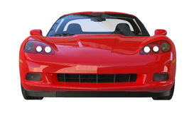 Vorderansicht von einem roten amerikanischen sportscar stockbilder