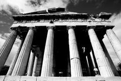 Vordere monokolonnade des Tempels von Hephaistos Stockbild
