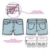 Vordere und hintere Ansicht von Frauen ` s kurzen Hosen verziert mit Spitzeen Lizenzfreies Stockbild