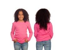 Vordere und hintere Ansichten eines schönen Afroamerikanermädchens Stockfotos