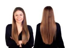 Vordere und hintere Ansichten eines teenger Mädchens mit dem langen Haar Lizenzfreie Stockbilder
